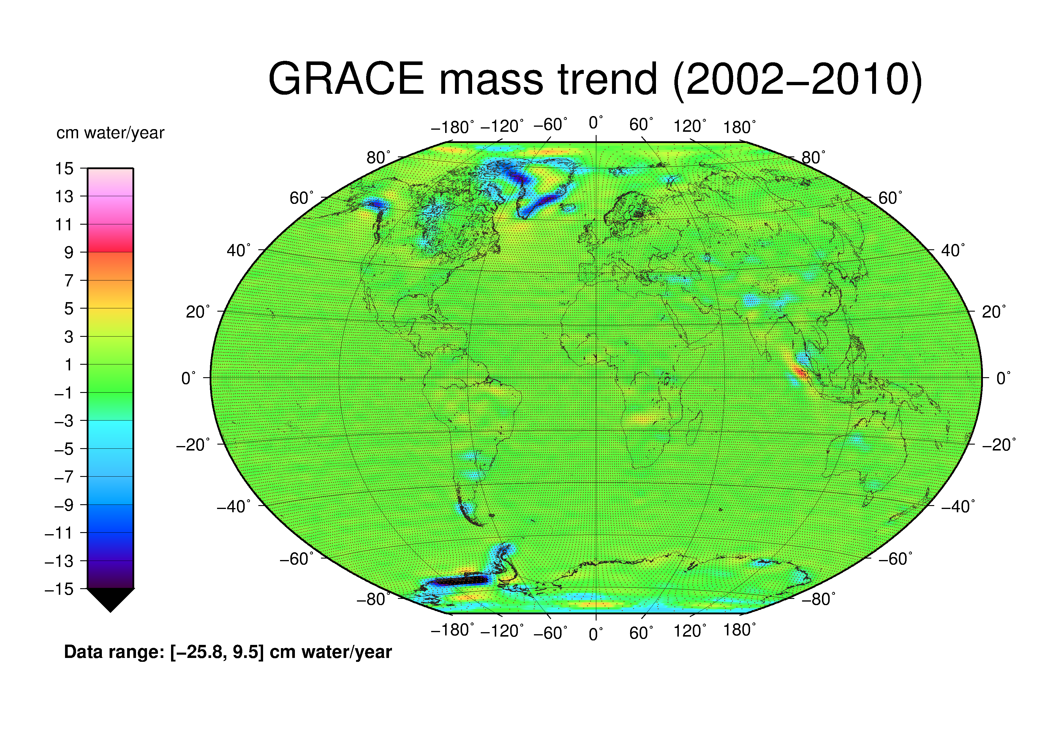 GRACE mass trend from 2002-2010.
